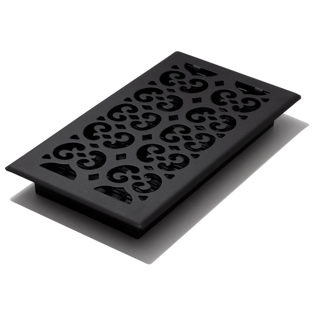 6x12 Scroll Text Black Floor Register