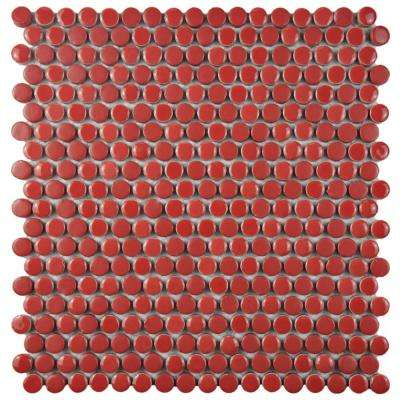 Comet Penny Round Red 11-1/4 in. x 11-3/4 in. x 9 mm Porcelain Mosaic Tile