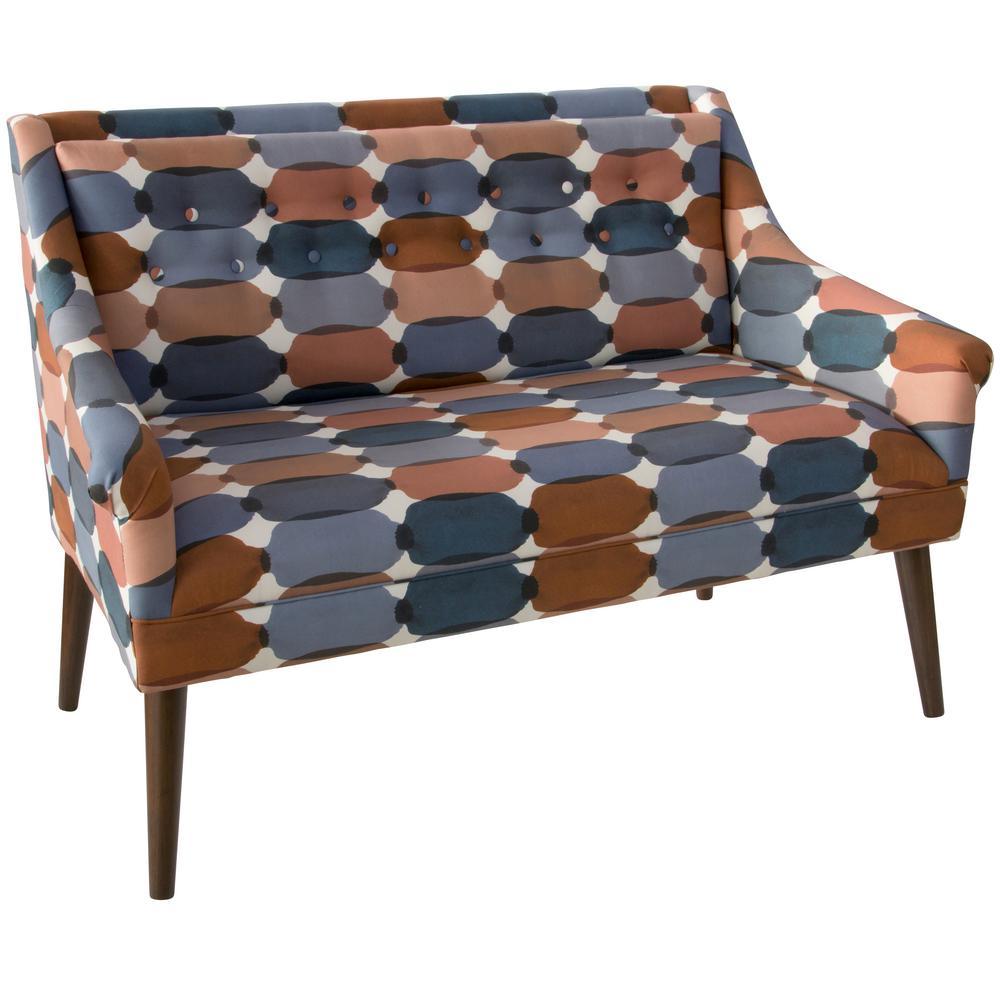 Skyline Furniture Bottleneck Blue Blush Button Tufted Settee