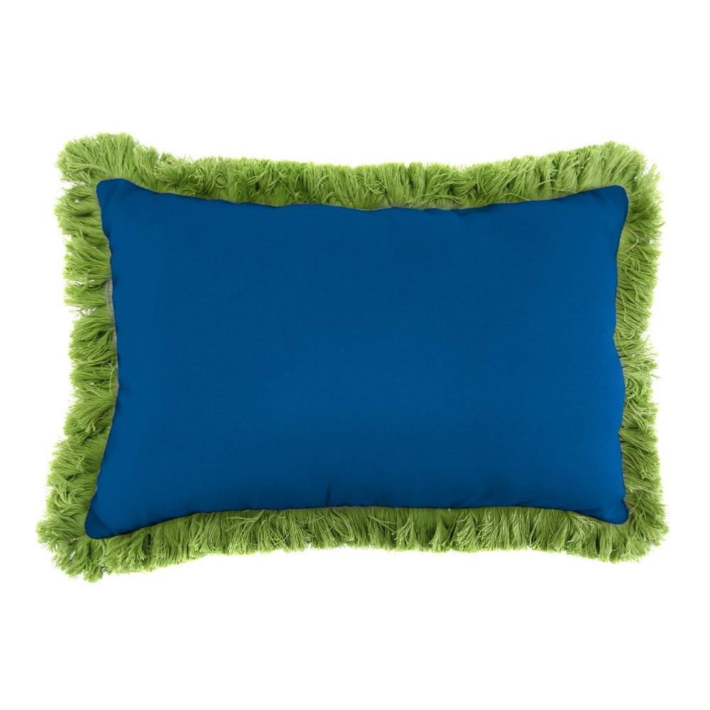 Jordan Manufacturing Sunbrella 9 in. x 22 in. Canvas Navy Lumbar Outdoor Pillow with Gingko Fringe
