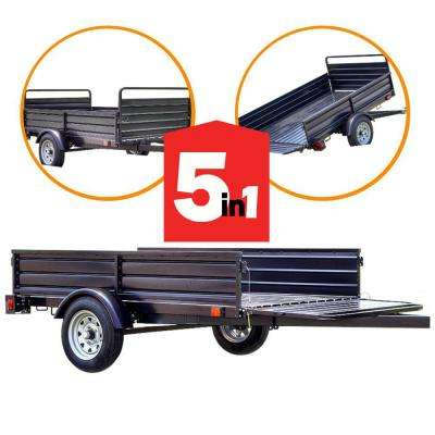 1639 lb  Payload Capacity 4 5 ft  x 7 5 ft  Utility Trailer with Bed Tilt  and Collapsing Ends to Extend Bed to 12 ft