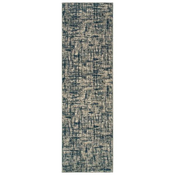 Rydal Grey Navy 2 Ft X 8 Ft Abstract Runner Rug 994958 The Home Depot