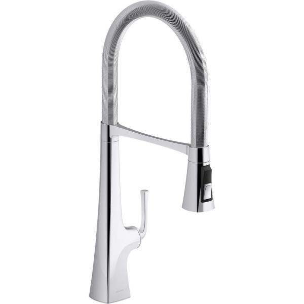 Graze Single-Handle Standard Kitchen Faucet in Polished Chrome