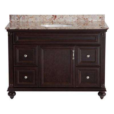 Annakin 48 in. W x 21.64 in. D Vanity in Chocolate with Stone Effects Vanity Top in Rustic Gold with White Basin