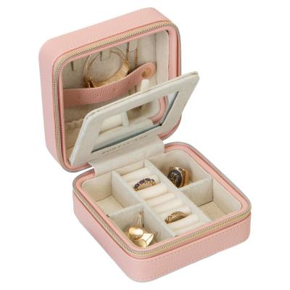 Mini Faux Leather Zippered Travel Jewelry Organizer Box in Blush