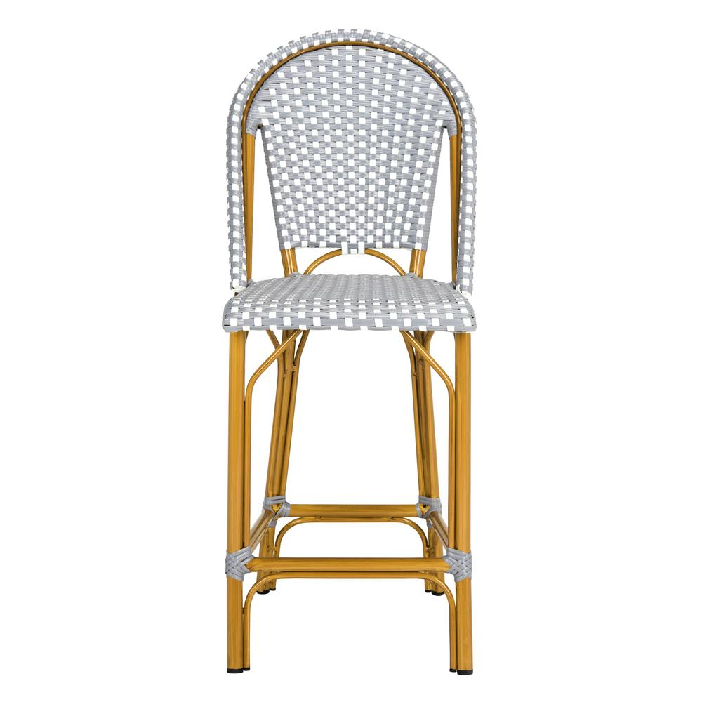 Terrific Safavieh Gresley Grey And White Wicker Outdoor Bar Stool Theyellowbook Wood Chair Design Ideas Theyellowbookinfo