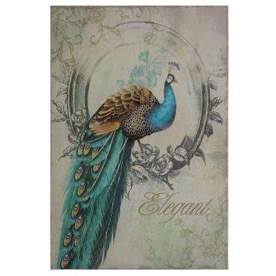 """35 in. x 24 in. """"Peacock Poise I"""" Printed Contemporary Artwork"""