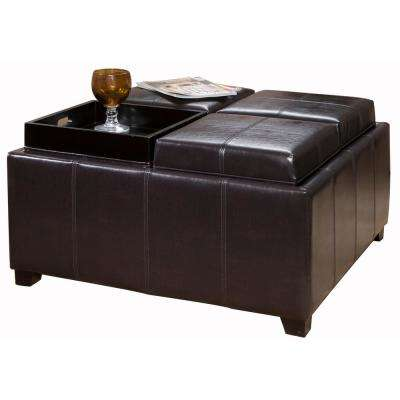 Dartmouth Espresso Brown Bonded Leather Tray Top Storage Ottoman