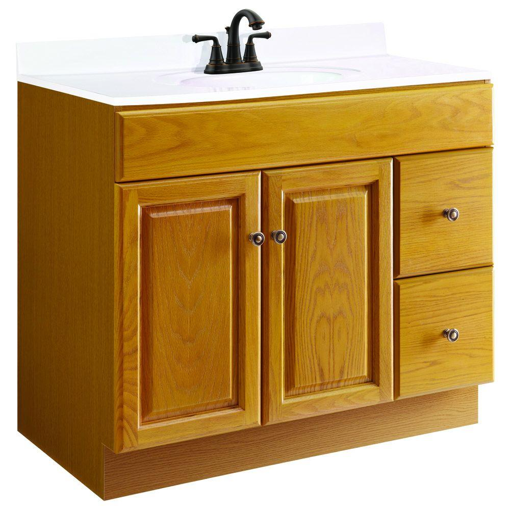 . Design House Claremont 36 in  W x 21 in  D Unassembled Vanity Cabinet Only  in Honey Oak