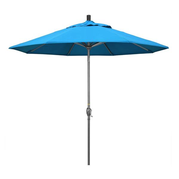 9 ft. Hammertone Grey Aluminum Market Patio Umbrella with Push Button Tilt Crank Lift in Canvas Cyan Sunbrella