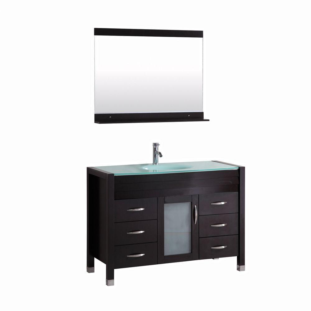 Cassiel 48 in. Single Vanity in Espresso with Glass Vanity Top in Aqua and Mirror