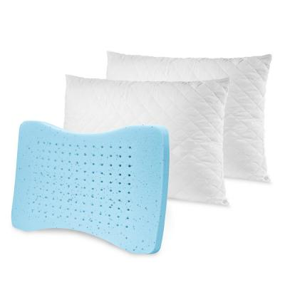 Memory Plus Deluxe Quilted Gel Memory Foam and Fiber Standard Pillow (Set of 2)
