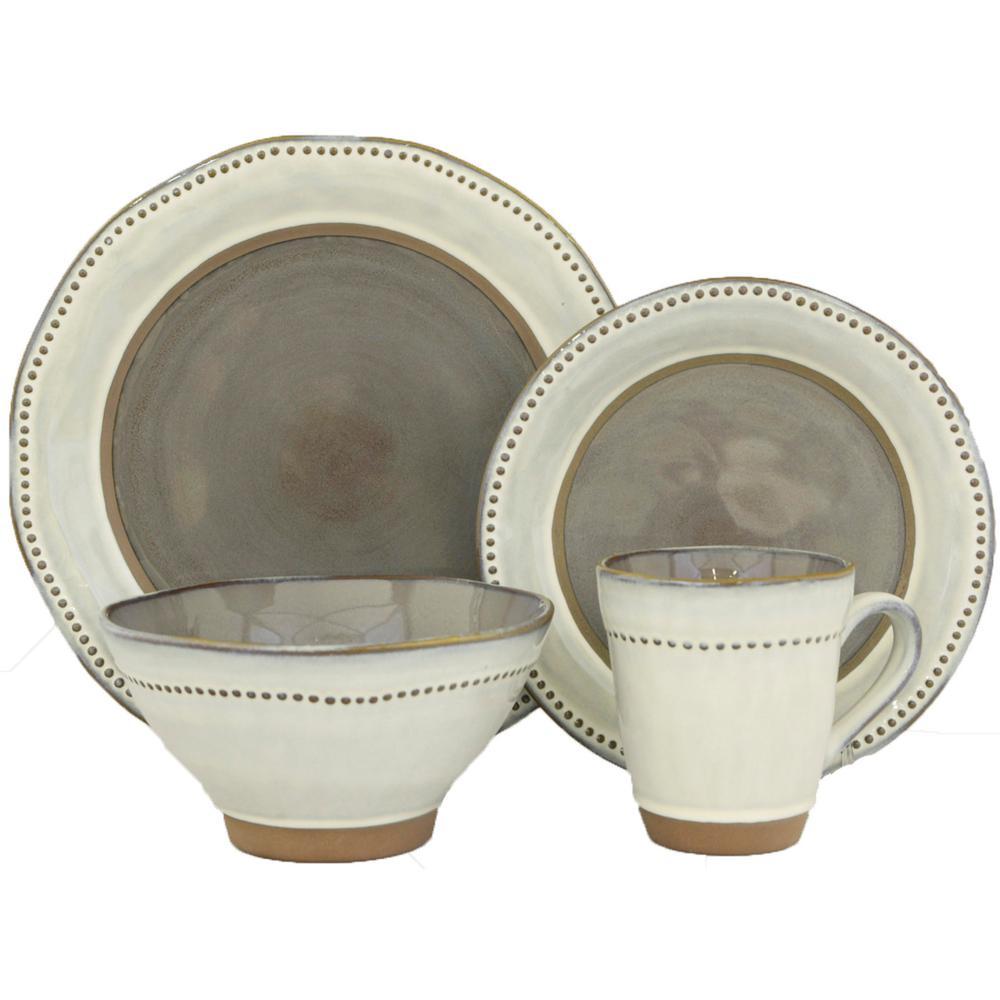 Sango 16-Piece Ruvo Gray Dinnerware Set-3597GY800ACM20 - The Home Depot