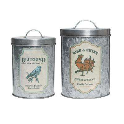 Galvanized Farm 2-Piece Metal Storage Canister Set with Lacquered Decals
