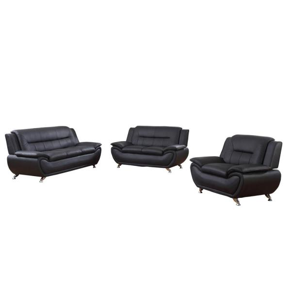 Stark 3-Piece Black Leather Sofa Set F4602-3PC - The Home Depot