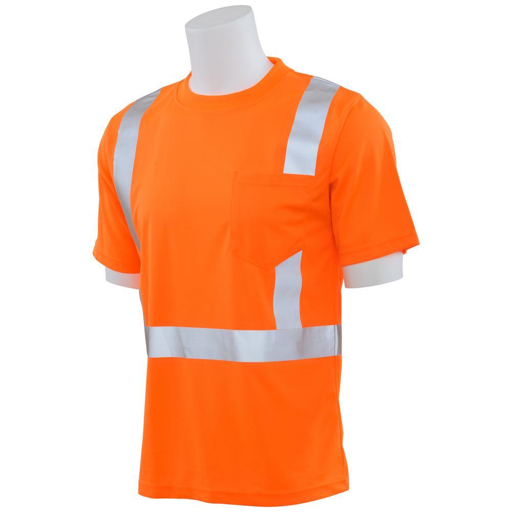 9006S S Class 2 Short Sleeve Hi-Viz Orange Unisex Birdseye Mesh