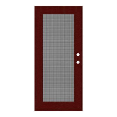 36 in. x 80 in. Full View Wineberry Left-Hand Surface Mount Security Door with Meshtec Screen