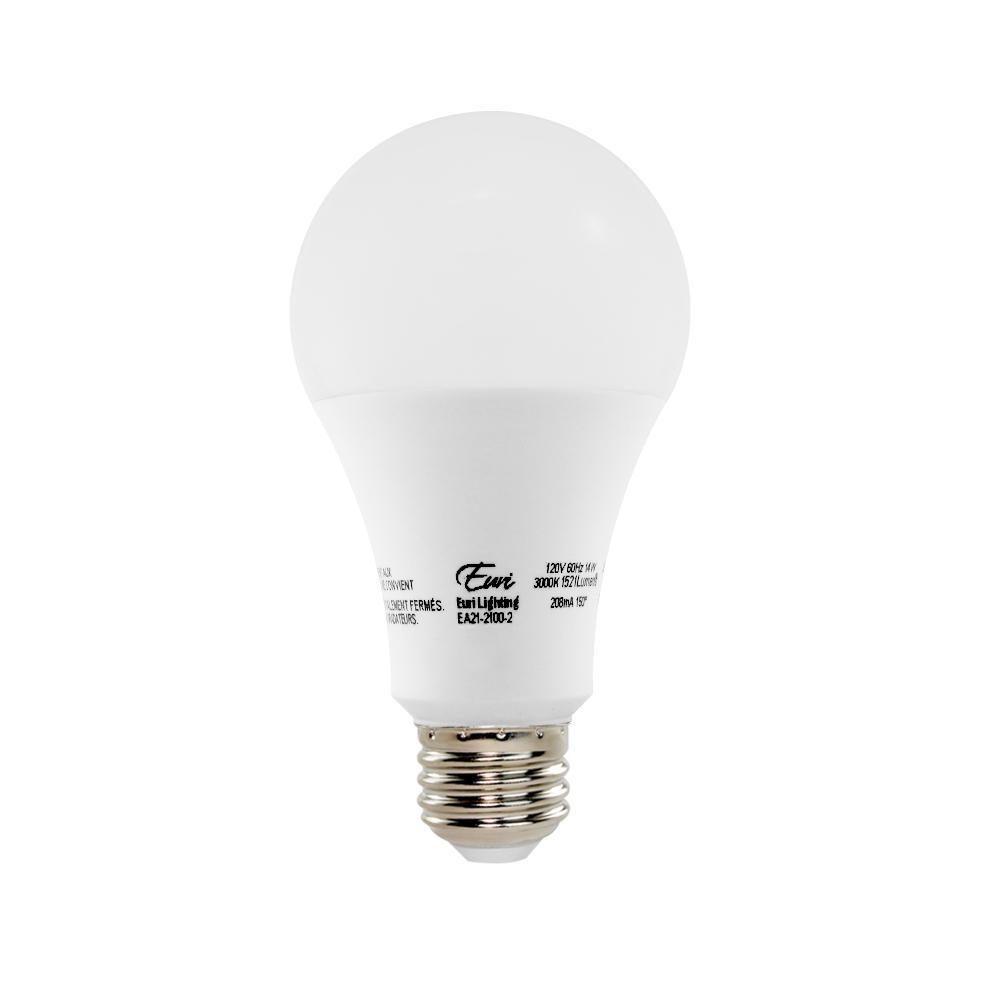 100W Equivalent Soft White (3000K) A21 LED Light Bulb (2-Pack)