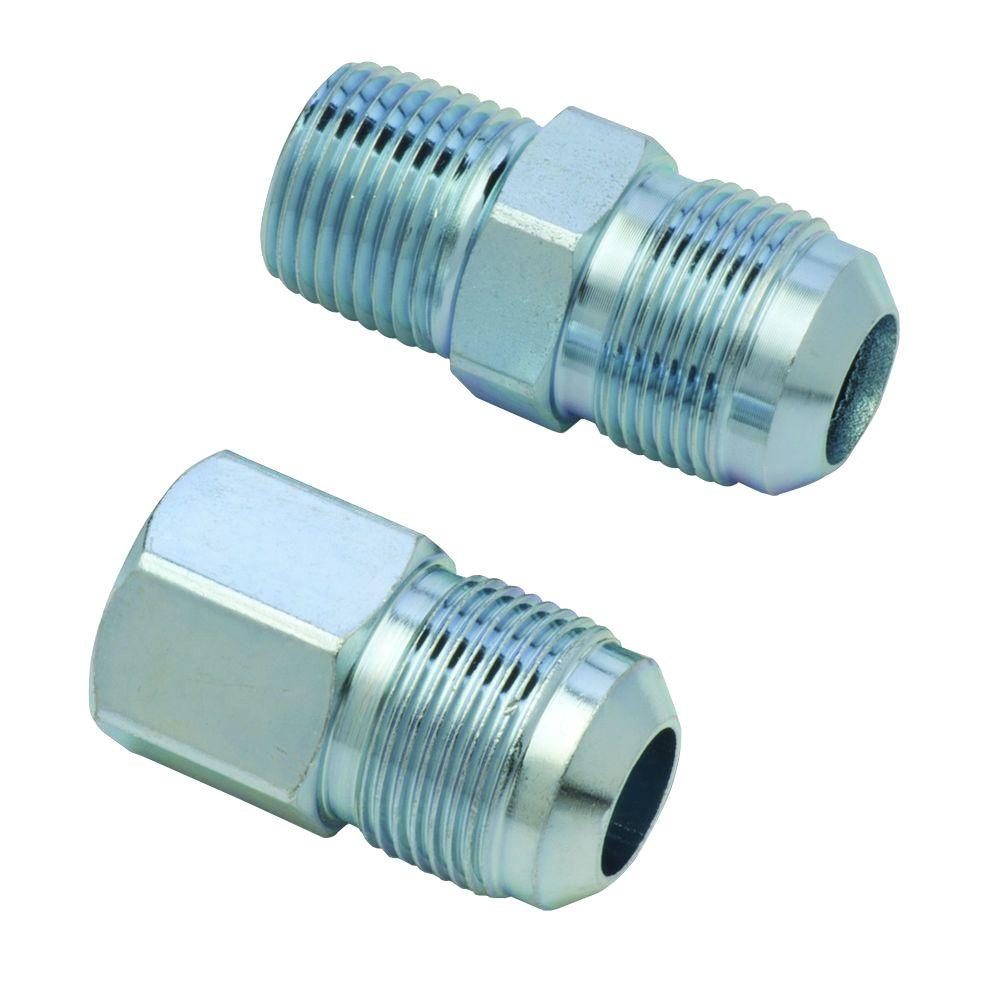 BrassCraft 5/8 in. O.D. Flare (15/16-16 Thread) Steel Gas Fitting Kit with 1/2 in. FIP and 1/2 in. MIP Connections BrassCraft 5/8 in. O.D. Flare (15/16-16 Thread) Steel Gas Fittings Kit includes (1) 1/2 in. FIP and (1) 1/2 in. MIP with a 3/8 in. FIP tap. Fittings are used with 5/8 in. O.D. gas connectors (CSSC part no. prefix) for appliances with larger BTU demands such as a 5 or 6 burner stove, furnace or boiler. Adapts gas connector nut to appliance inlet or gas supply. The flared end of the fitting connects to the gas connector nut. The female end connects to the gas appliance inlet, gas ball valve or gas supply stub out. These fittings are manufactured from steel and feature a corrosion resistant coating.