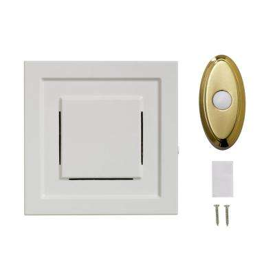 White Wireless Plug-In Door Chime Receiver with Brass Wireless Door Bell Push Button