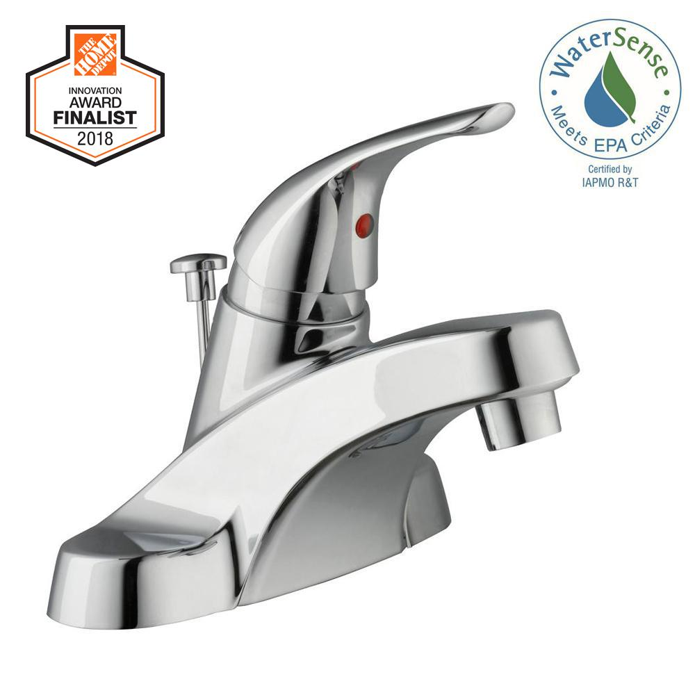 Glacier Bay Aragon 4 in. Centerset Single-Handle Low-Arc Bathroom Faucet in Chrome