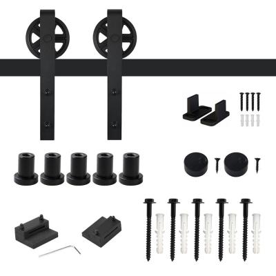 6 ft. /72 in. Frosted Black Sliding Barn Door Track and Hardware Kit for Single with Non-Routed Floor Guide