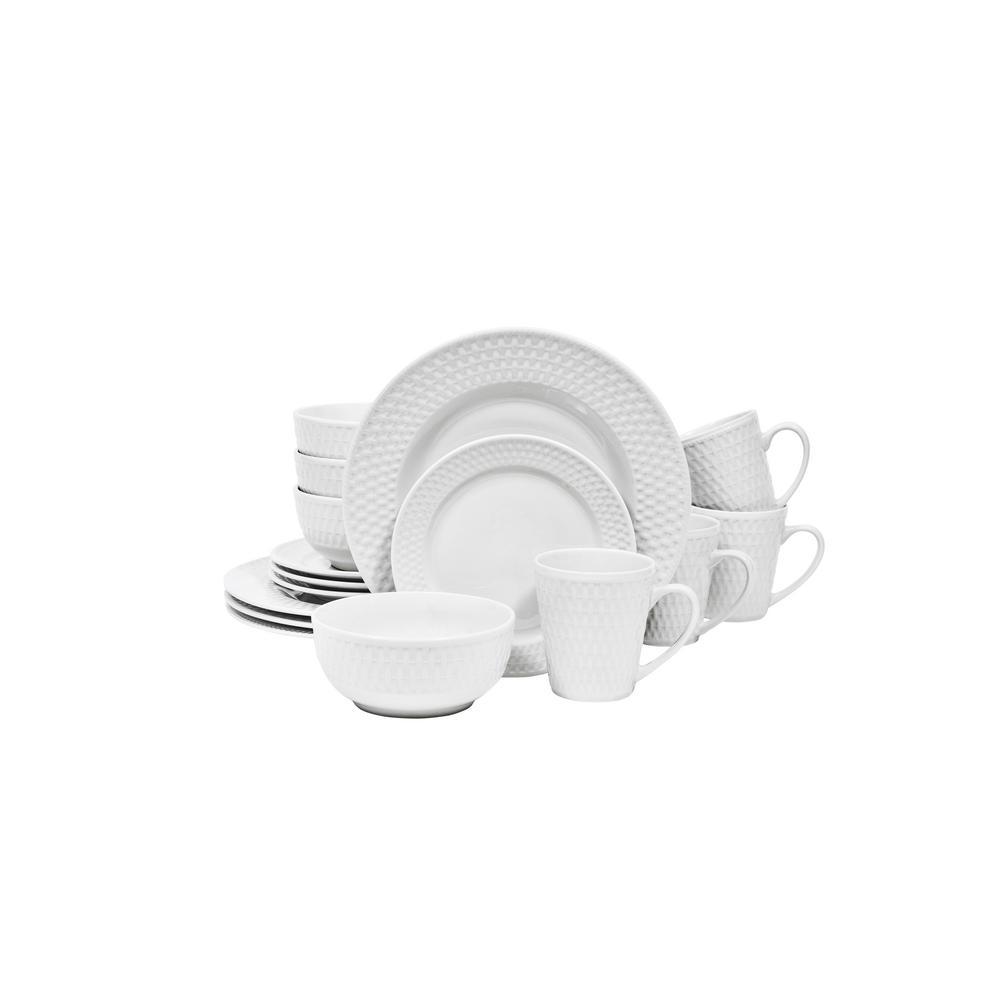 Sango Bramlette White 16-Piece Dinnerware Set