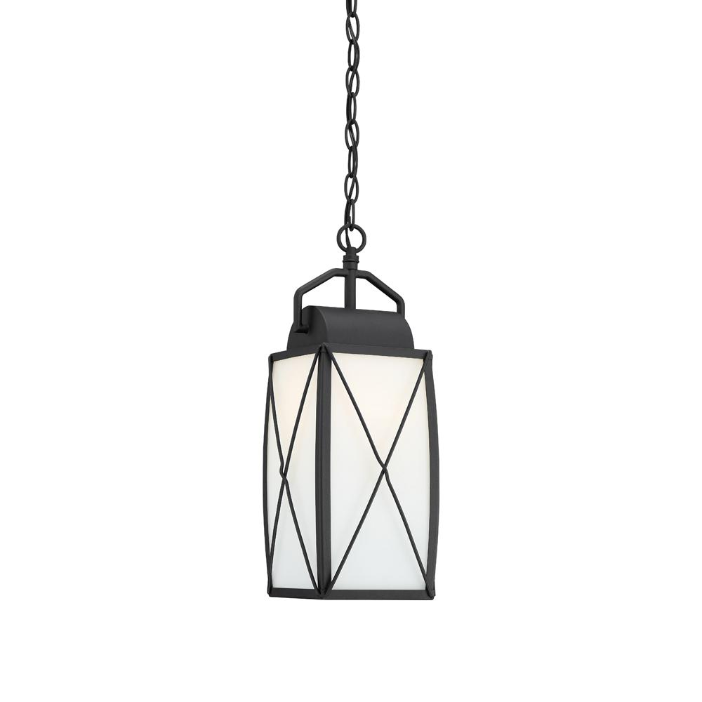 Fairlington Black 1-Light Outdoor Hanging Lantern with Etched White Glass Shade