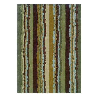 Trio Collection Green and Spa Blue 8 ft. x 10 ft. Indoor Area Rug