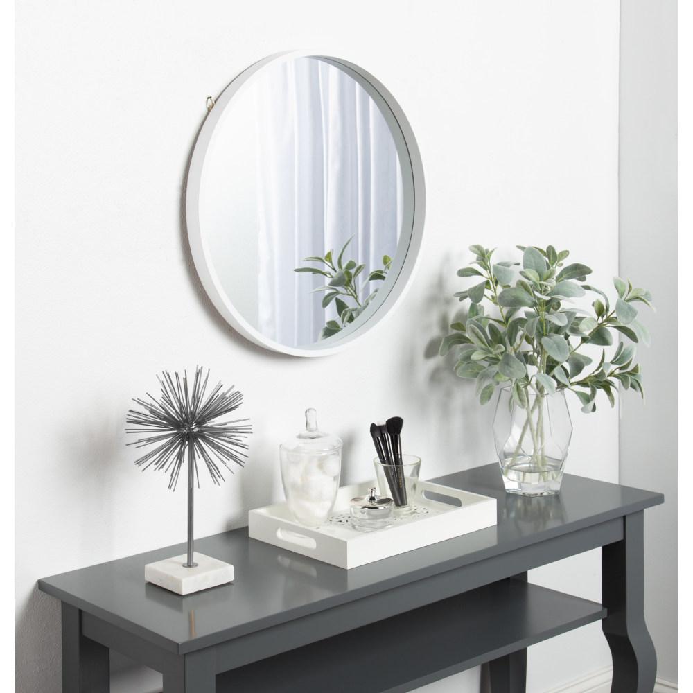 Travis Round White Mirror