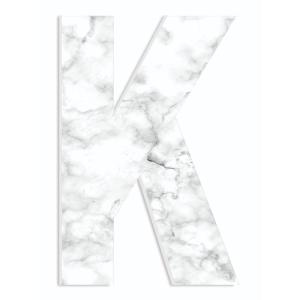 12 In X 18 Modern White And Grey Marble Patterned Initial K By Artist Daphne Poli Wood Wall Art