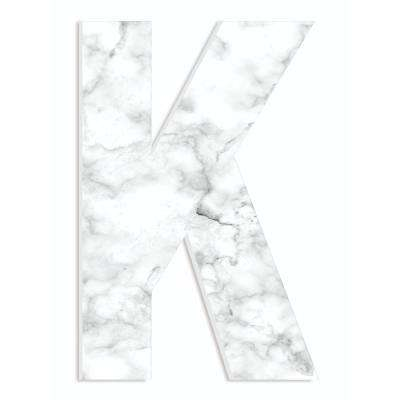 """12 in. x 18 in. """"Modern White and Grey Marble Patterned Initial K"""" by Artist Daphne Polselli Wood Wall Art"""