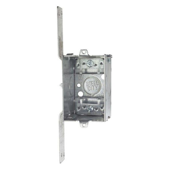 1-Gang 3 in. 2-1/2 in. Deep New Work Metal Switch and Outlet Electrical Box with CV Bracket