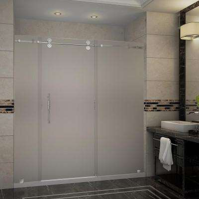 Langham 72 in. x 35 in. x 77.5 in. Frameless Sliding Shower Door, Frosted Glass in Stainless Steel with Left Base