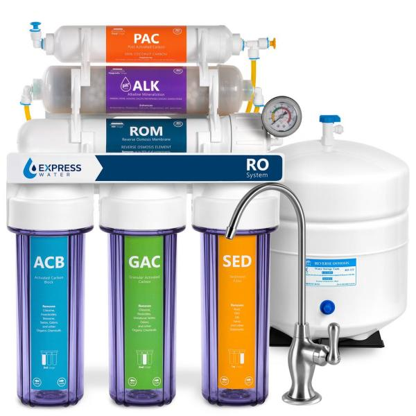Reverse Osmosis Alkaline Water Filtration System – 10 Stage RO Water Filter with Faucet and Tank – 100 GPD
