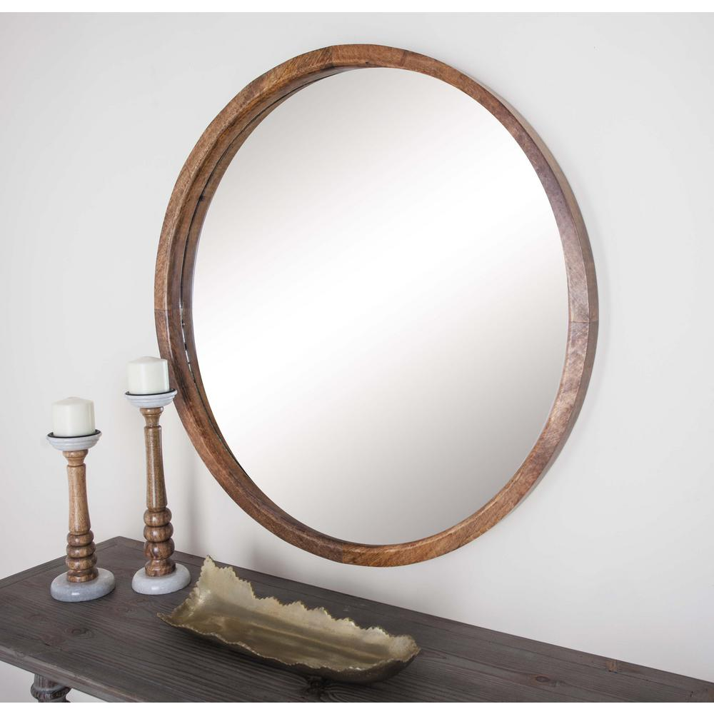 36 in. Round Brown Framed Wall Mirror