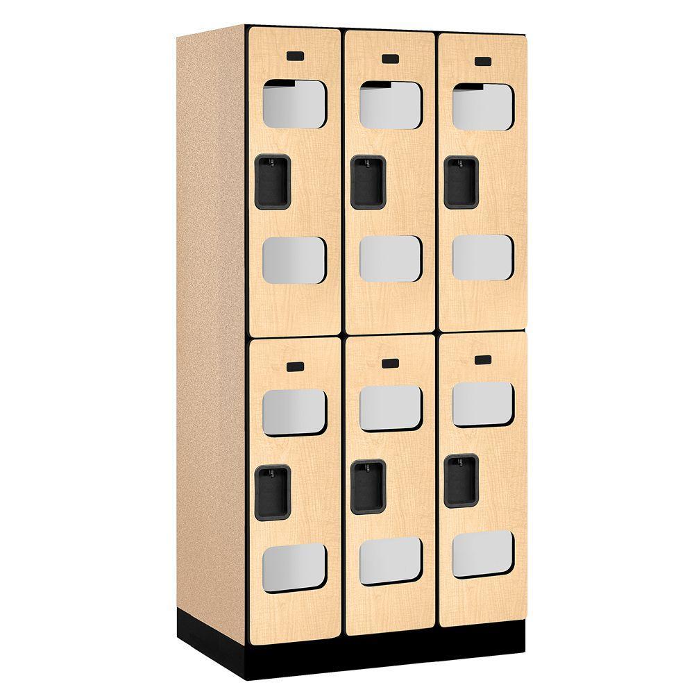 Salsbury Industries S-32000 Series 36 in. W x 76 in. H x 21 in. D 2-Tier See-Through Designer Wood Locker in Cherry