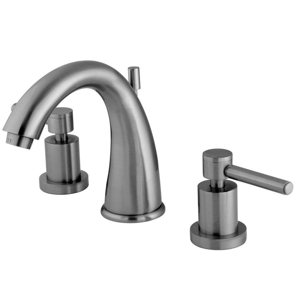 Kingston Brass 8 In. Widespread 2-Handle Mid-Arc Bathroom Faucet In Satin Nickel-HKS2968DL