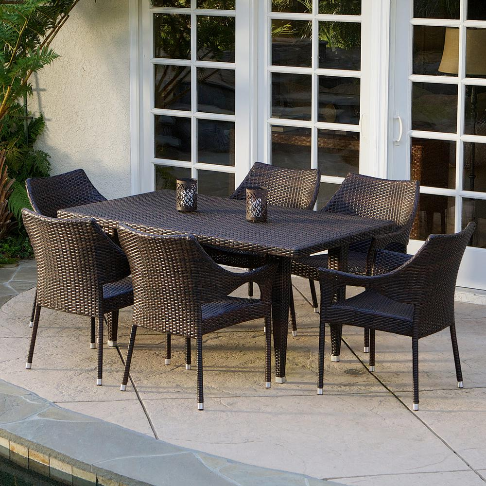 Noble House Cliff Multi-Brown 7-Piece Wicker Outdoor Dining Set