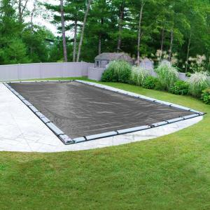 Professional-Grade 25 ft. x 45 ft. Rectangular Charcoal Winter Pool Cover