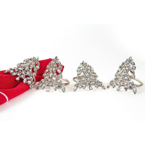 Shimmer Holiday Christmas Silver Tree Jeweled Metal Napkin Rings (Set of 4)