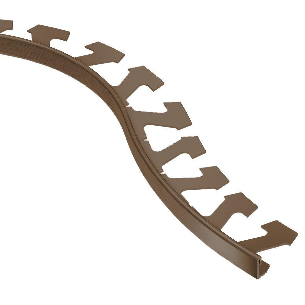 Jolly Brushed Antique Bronze Anodized Aluminum 1/4 in. x 8 ft. 2-1/2 in. Metal Radius Tile Edging Trim