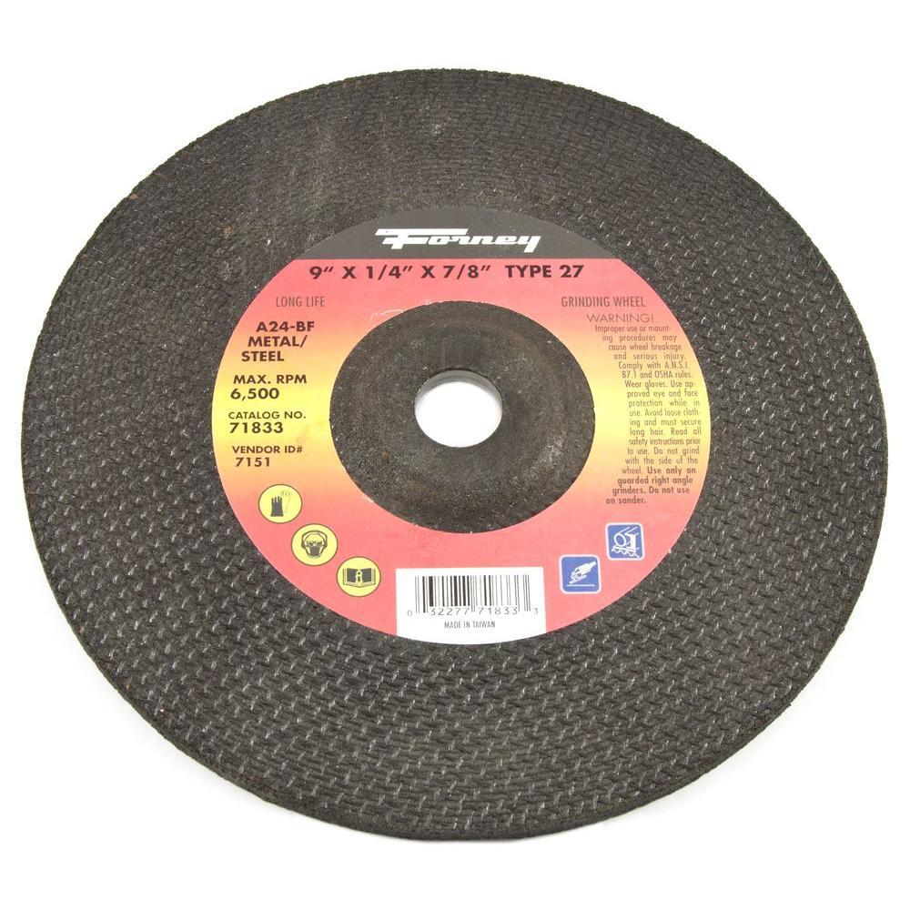 Forney 9 in. x 1/4 in. x 5/8 in.-11 Threaded Metal Type 27 Grinding Wheel