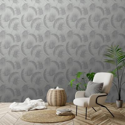 Oasis Grey and Silver Foil Leaves Wallpaper
