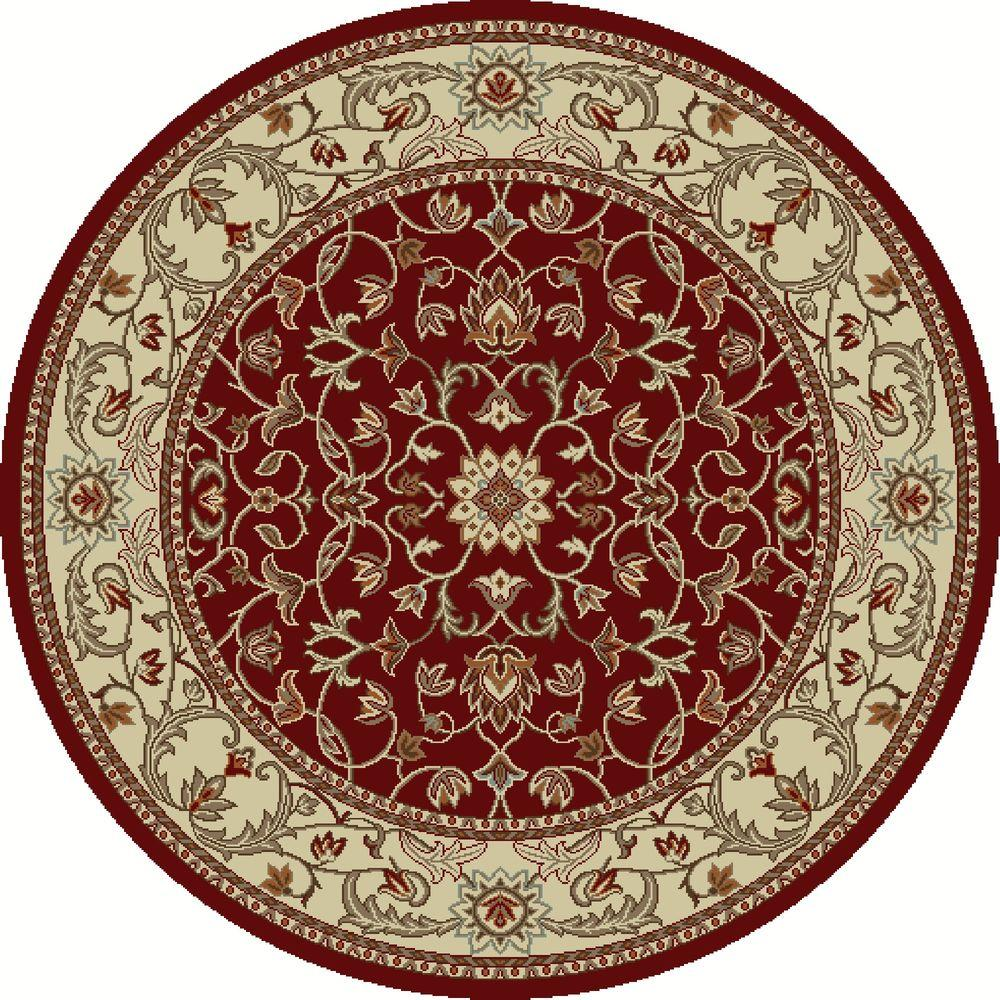 Chester Flora Red 8 ft. Round Area Rug