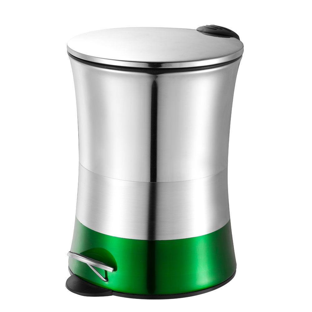 5 l Shiny Matte Colorblock Bottom Step Waste Basket in Green