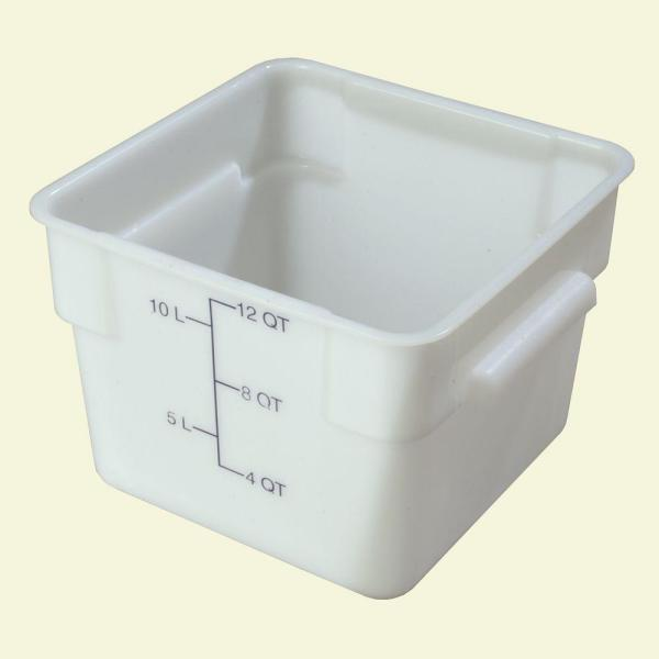 Carlisle 12 qt. Polyethylene Square Food Storage Container in White (Case