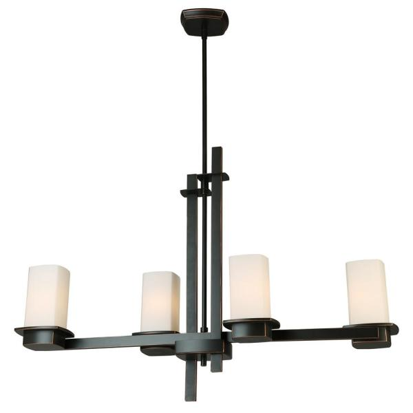 Vlacker 35 in. 4-Light Oil Rubbed Bronze Linear Pendant with Frosted Opal Glass Shades