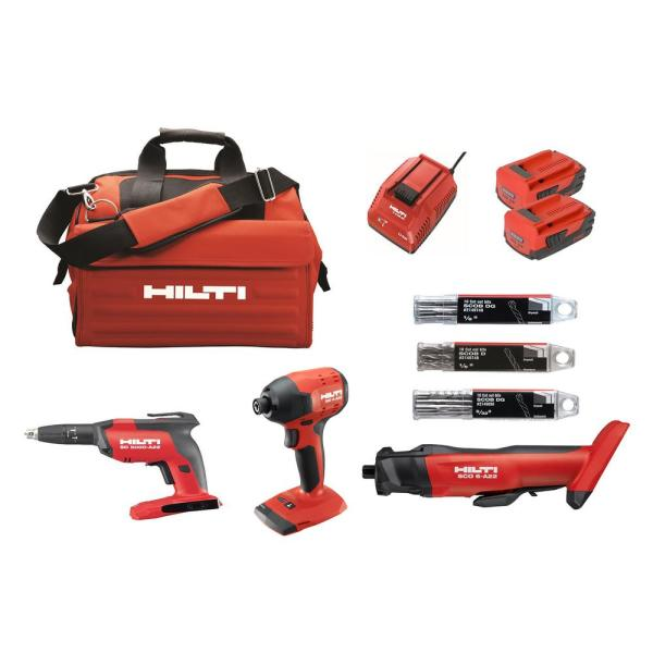 Hilti 22 Volt Lithium Ion Cordless Cut Out Tool Drywall Screw Gun Impact Driver Compact Combo Kit 3 Tool 3551244 The Home Depot