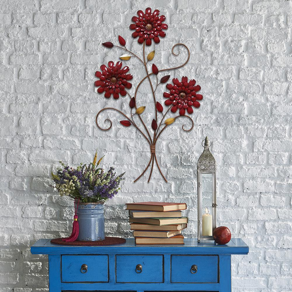 Stratton Home Decor Stratton Home Decor Red Floral Bouquet Wall Decor S01880 The Home Depot